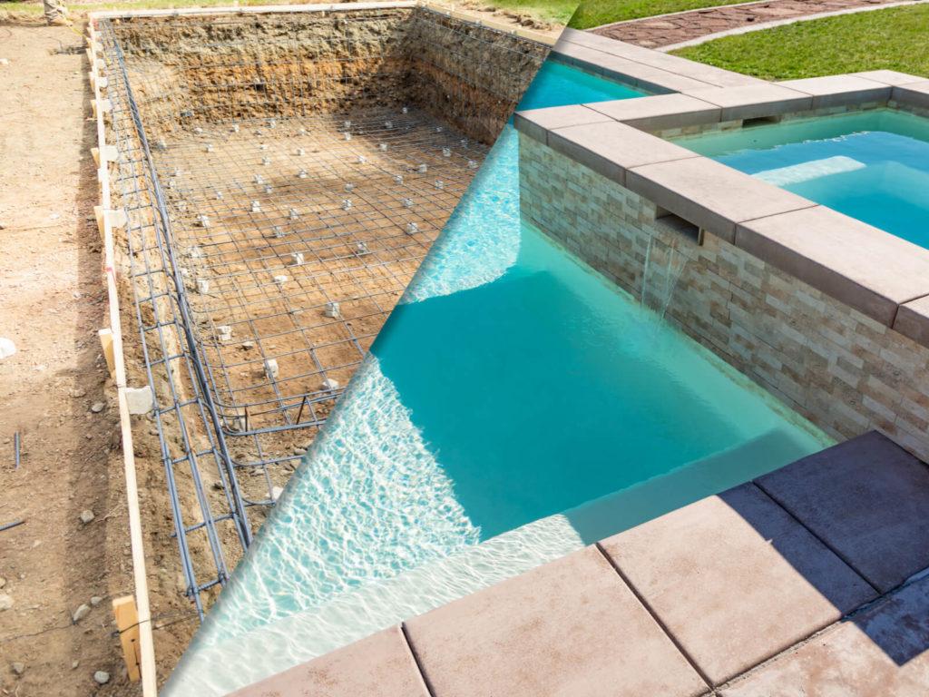 Construction piscine avant et apres
